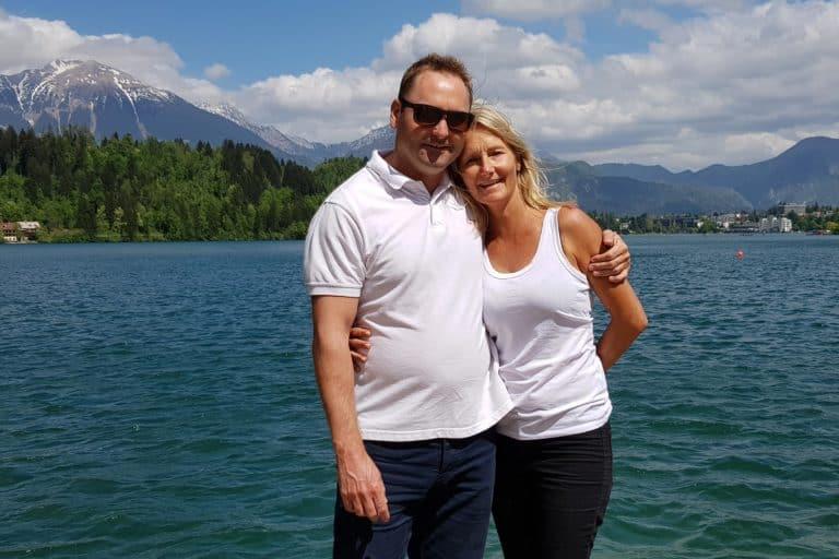 Uros & Nikki enjoying Slovenia - Lake Bled in Slovenia